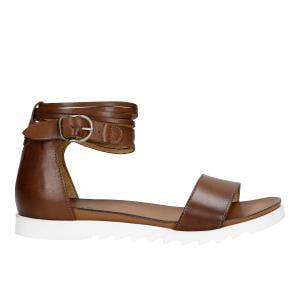 Jasnobrązowe sandały damskie na białej podeszwie 76013-53