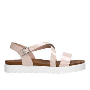 Delikatne różowe sandały damskie z białą podeszwą idealne na lato 76014-54
