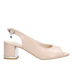 Beżowe sandały damskie z otwartą piętą oraz ozdobnym obcasem 76041-54