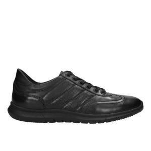 Czarne półbuty męskie ze skóry licowej w stylu comfort 10038-51