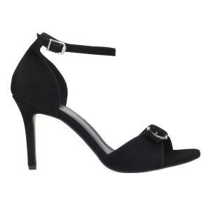 Czarne wieczorowe sandały damskie na szpilce z ozdobną klamerką 8809-61