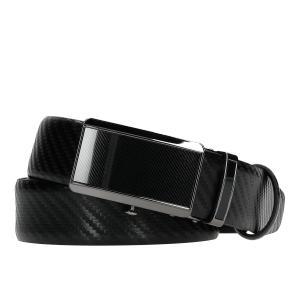 Czarny pasek męski z pełną klamrą 93017-51