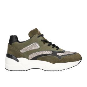 Ciemnozielone sneakersy damskie na wysokiej podeszwie z czarnymi i złotymi elementami  46067-87