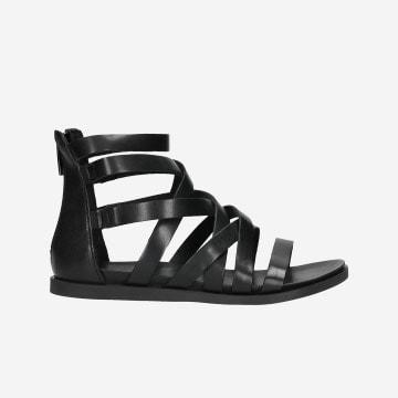 Czarne sandały damskie z paskami na płaskiej podeszwie 76062-51