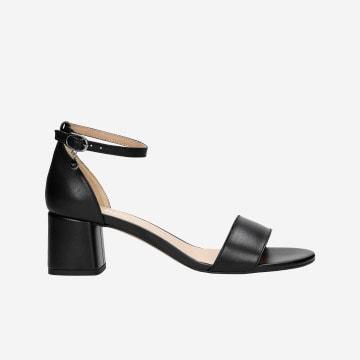 Czarne klasyczne sandały damskie na obcasie 76038-51