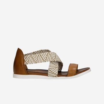 Jasnobrązowe sandały damskie z plecionymi paskami 76018-83