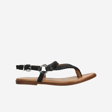 Czarne sandały damskie japonki na brązowej podeszwie  76061-51