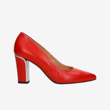 Czerwone czółenka damskie ze skóry licowej na ozdobnym obcasie 35044-55