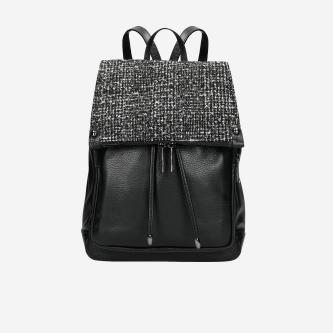 Czarno-biały plecak damski ze skóry licowej i materiału z limitowanej edycji  80073-81