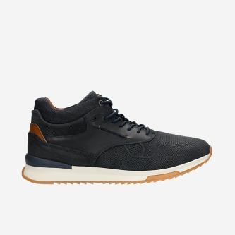 Stylové kožené botasky pánské s granátovými prvky 24024-86