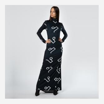 Czarna sukienka maxi w monogram PILAWSKI K350002-81