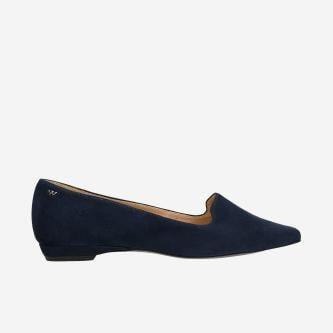 Dámske kožené loafers tmavomodrej farby na každú príležitosť 45005-66