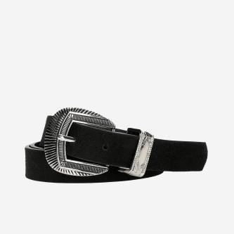 WJS czarny pasek damski z metalowymi ozdobami WJS91006-21