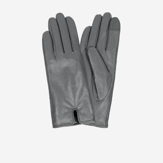 Popielate rękawiczki damskie ze skóry licowej 98115-50