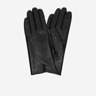 Czarne skórzane rękawiczki damskie z podszewką antybakteryjną 98115-51