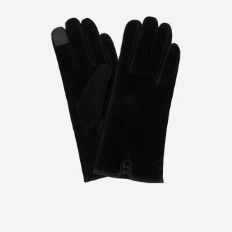 Czarne rękawiczki damskie z dwoiny welurowej 98115-61