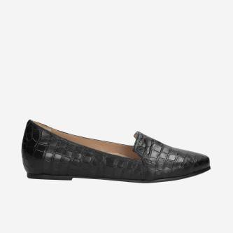 Czarne lordsy damskie z imitacją skóry krokodyla 45003-51