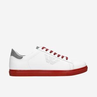 Białe półbuty męskie z popielatymi i czerwonymi wstawkami 10076-79