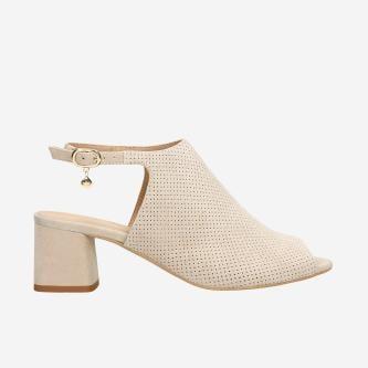 Beżowe sandały damskie na obcasie 76088-64