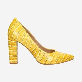 Żółte czółenka damskie na słupku z imitacją krokodylej skóry 35042-58