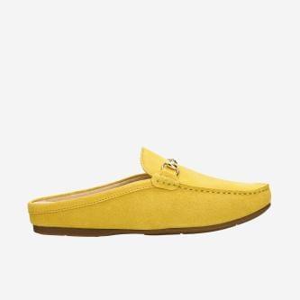 Żółte klapki damskie w mokasynowym stylu 74033-68