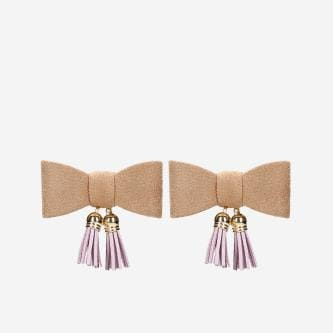 Beżowe kokardki do obuwia z różowymi chwostami 98511-14