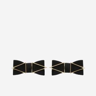 Czarne klipsy do butów z metalowymi elementami 98508-11