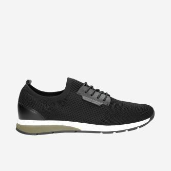 Czarne materiałowe sneakersy męskie 10085-81