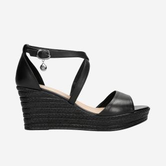 Czarne sandały damskie na koturnie z czarnym jutowym sznurkiem 76085-51