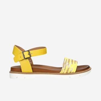 Żółte sandały damskie na białej podeszwie 76019-88