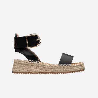 WJS czarne sandały damskie z szeroką klamrą na pasku WJS43002-51
