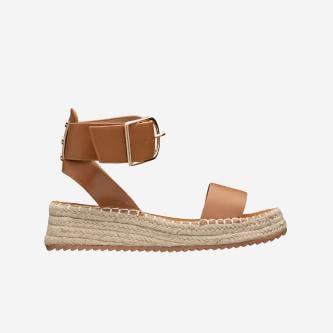 WJS brązowe sandały damskie z jutowym sznurkiem  WJS43002-53