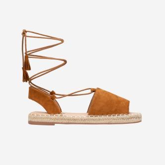 WJS brązowe sandały damskie z wysokim wiązaniem WJS43003-63