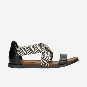 Czarne sandały damskie z zakrytą piętą i plecionymi paskami 76018-81