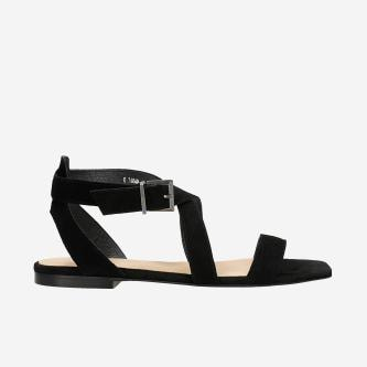 Czarne sandały damskie ze skóry welurowej 76068-61