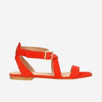 Koralowe sandały damskie z przeplatanymi paskami 76068-65