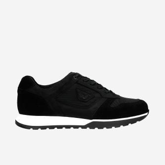 Czarne sneakersy męskie z łączonych materiałów 10095-81