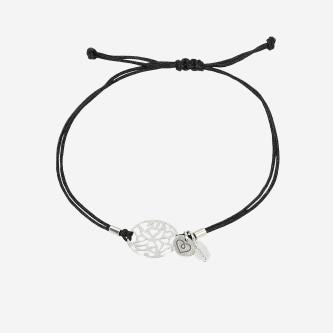 Czarna bransoletka damska ze srebrnym  ażurowym motywem  98907-81