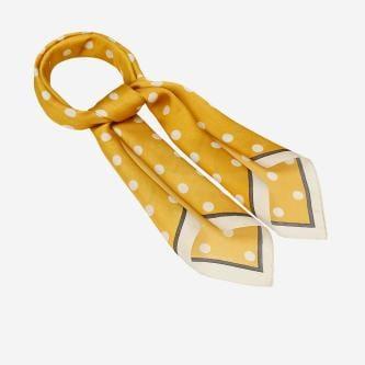 Żółta apaszka damska w białe grochy 96008-18