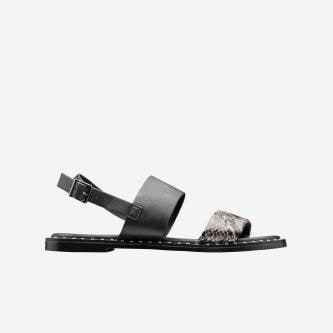 WJS czarne sandały damskie z motywem skóry węża WJS74023-50