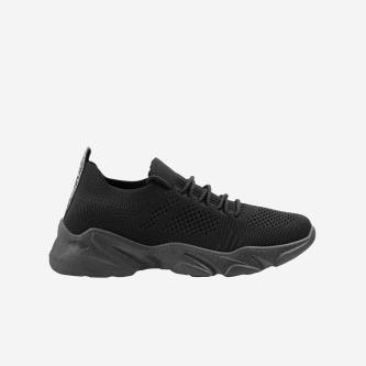 WJS czarne sneakersy damskie sznurowane WJS64025-11