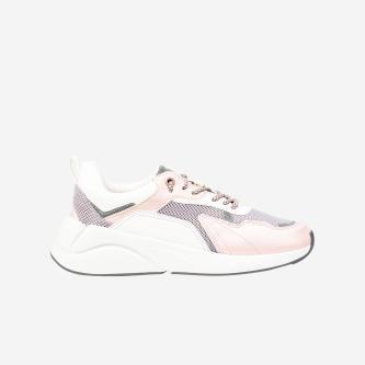 WJS biało-różowe sneakersy damskie na grubej podeszwie WJS64015-54