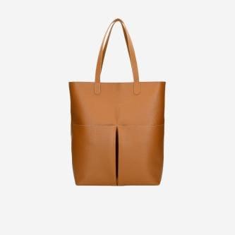 Pojemna torebka z gładkiego lica w kolorze jasnego brązu 80027-53