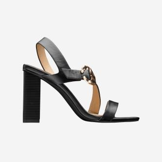WJS czarne sandały damskie na wysokim słupku WJS74018-51