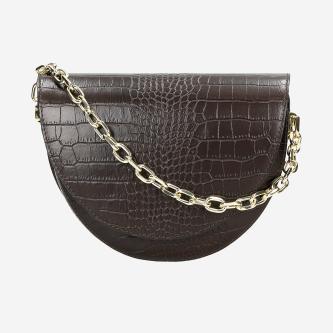 Ciemnobrązowa torebka damska z imitacją skóry krokodyla 80206-52