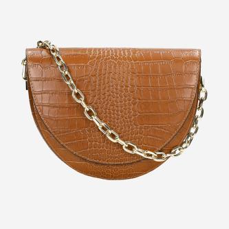 Jasnobrązowa skórzana torebka damska na łańcuszku 80206-53