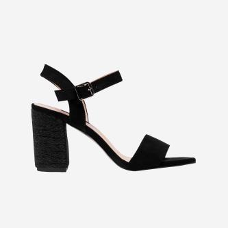 WJS czarne sandały damskie na obcasie WJS74033-61