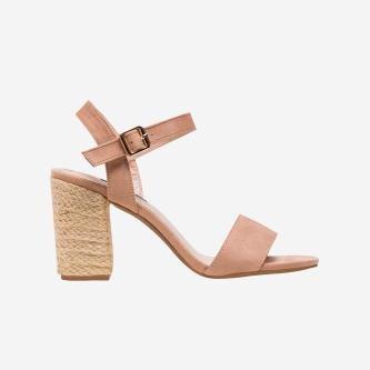 WJS beżowe sandały damskie na słupku oplecionym jutowym sznurkiem WJS74033-64