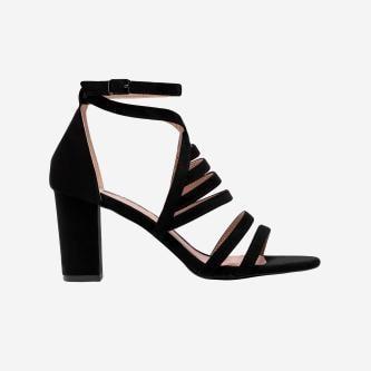 WJS czarne sandały damskie z ciekawymi paskami WJS74036-61