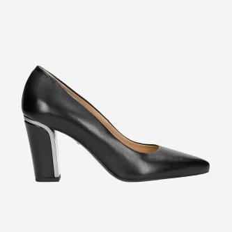 Czarne eleganckie czółenka damskie na słupku 35044-51